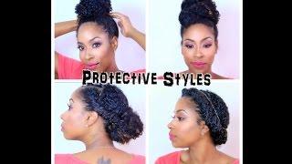 getlinkyoutube.com-4 Easy Protective  Styles | Natural Hair