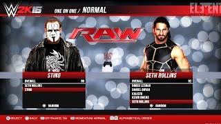 getlinkyoutube.com-WWE 2K16 PS4 Gameplay : Match Types & Menu rebuild (Sting vs Rollins)