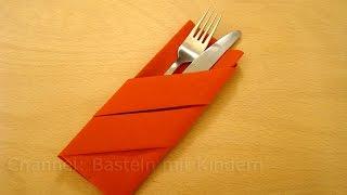 getlinkyoutube.com-Servietten falten: Bestecktasche falten - Einfache DIY Tischdeko basteln