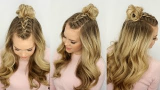 getlinkyoutube.com-Mohawk Braid Top Knot | Half Up Hairstyle | Missy Sue