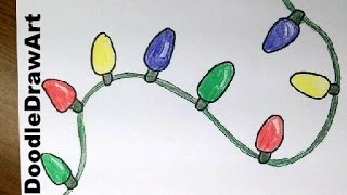 getlinkyoutube.com-Drawing: How To Draw Cartoon Christmas Lights - Easy lesson for kids or beginners.