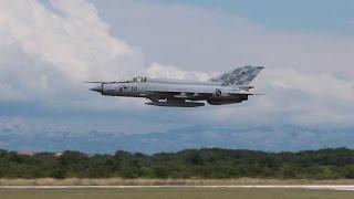 getlinkyoutube.com-EPIC! Dual Mig-21 Takeoff and Really Low Pass! - CAF/HRZ - Zemunik Airbase