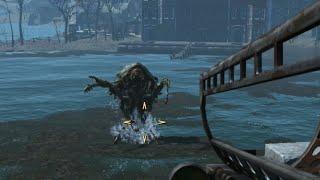 getlinkyoutube.com-Fallout 4 - Mirelurk Queen KILL (SURVIVAL)