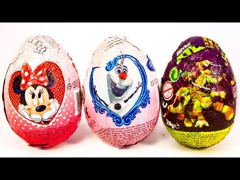 Surprise Eggs Minnie Mouse Frozen Ninja Turtles Huevo Kinder Sorpresa by Unboxingsurpriseegg