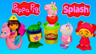 getlinkyoutube.com-Peppa Pig Team Umizoomi and Dora The Explorer Water Squirter Bath Toys by Disney Cars Toy Club