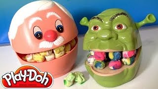 getlinkyoutube.com-Play Doh Doctor Drill 'n Fill Dentist Shrek Rotten Root Canal Dentista Vintage Play Dough Review