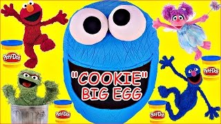 getlinkyoutube.com-Cookie Monster GIANT Play Doh Surprise Egg! Sesame Street Toys Playdough Eggs Episodes!