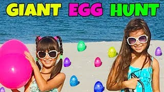 getlinkyoutube.com-GIANT SURPRISE TREASURE EGG HUNT AT THE BEACH - Opening Toy Surprises - Shopkins, Num Noms