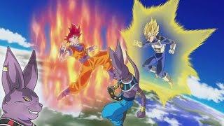 getlinkyoutube.com-Dragon Ball Champa Watches! Super Saiyan God Goku vs Beerus (Anime IC Carddass Card Game Cutscene)