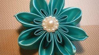 getlinkyoutube.com-Цветок Канзаши Видео-мастер класс.  / DIY Flowers