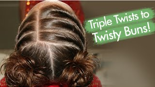 getlinkyoutube.com-Triple Twists to Twisty Buns | Updos | Cute Girls Hairstyles