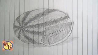 getlinkyoutube.com-cara menggambar buah semangka (speed drawing)
