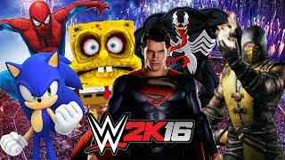 getlinkyoutube.com-WWE 2K16 Wtf Elimination chamber Spiderman vs Venom vs Superman vs Spongebob vs Scorpion vs Sonic