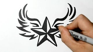 getlinkyoutube.com-How to Draw a Nautical Star with Wings - Tribal Style