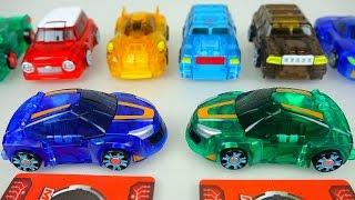 getlinkyoutube.com-MeCard cars 터닝메카드 에반 그린 과 10대 장난감 Turning Mecard Card transformers car toys