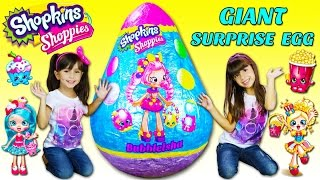 getlinkyoutube.com-GIANT SHOPKINS SHOPPIES BUBBLEISHA SURPRISE EGG - Worlds Biggest - Filled with so many Toys