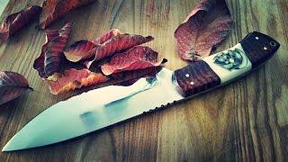"getlinkyoutube.com-Knife making How to make a Hunting Knife 7"" blade tooled snake skin leather sheath scrimshaw handle"