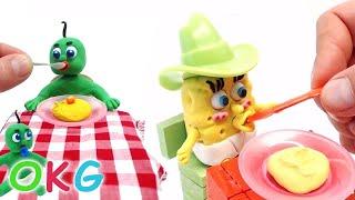 getlinkyoutube.com-Baby SpongeBob Feeding Days Superheroes in Real Baby Life Play Doh Stop Motion Videos