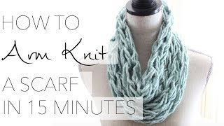getlinkyoutube.com-How to Arm Knit a Single Wrap Infinity Scarf in 20 Minutes with Simply Maggie