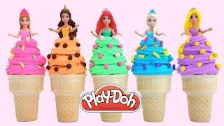 getlinkyoutube.com-Play Doh Disney Princess Ice Cream Dresses Ariel Elsa Belle Magiclip *  RainbowLearning