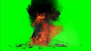 Green Screen Explosion debris, cracks, dust, smoke, fire, sound effects and explosion HD