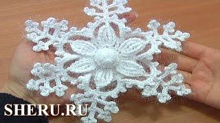 getlinkyoutube.com-How To Crochet Snowflake Pattern Урок 8 часть 1 из 2 Вязание крючком снежинка