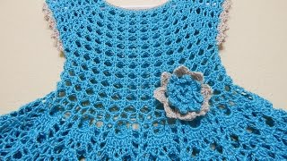 getlinkyoutube.com-Vestido Olanes para Niña Crochet parte 1 de 3