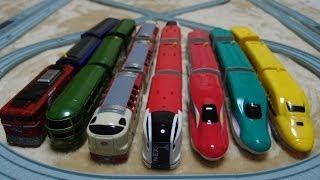 getlinkyoutube.com-ダイソープチ電車シリーズの成田エクスプレス スーパーこまち ドクターイエローとその他の7台で走行