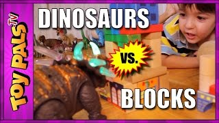 getlinkyoutube.com-Toy DINOSAURS vs Building BLOCKS: Playdate Video for Kids Toypals.tv
