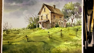 getlinkyoutube.com-Watercolor Landscape Painting :  Old litter house in the Meadow