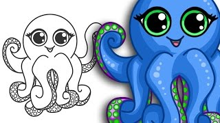 How to draw an Octopus   Super cute & Easy   Step By Step Drawing