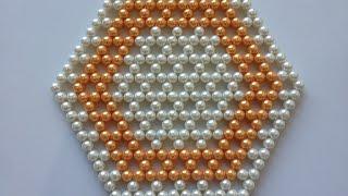 getlinkyoutube.com-How to make beaded table mat | DIY table mat | pearl table mat