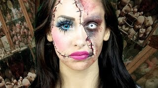 getlinkyoutube.com-Horror Doll - A Scary Halloween makeup tutorial (LaCindina-CindySold)