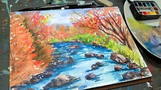 getlinkyoutube.com-Beginner FAll Landscape Tutorial & Schmincke Horadam Watercolor Review
