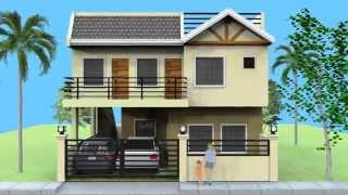 getlinkyoutube.com-Small 2 Storey House with Roofdeck