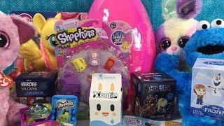 getlinkyoutube.com-Big Pink Egg of Awesomeness Shopkins Beanie Boos Frozen Moofia Disney Villains Moshi Unboxing