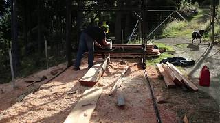 getlinkyoutube.com-Home made twin blade sawmill in action