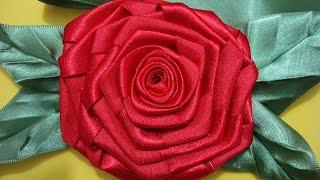 getlinkyoutube.com-Flor de Tecido - ROSA QUADRADA  com FOLHAS de Fita de cetim!!! Fácil!!!Passo a Passo^^