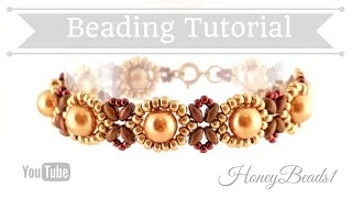 getlinkyoutube.com-Beginners Bracelet Sunflower Tutorial *(3)* Beading Tutorial by HoneyBeads1 (with superduo beads)