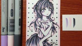 getlinkyoutube.com-Copic Marker Drawing: 3 Color Palette Challenge