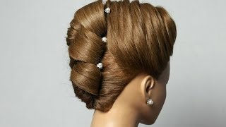 getlinkyoutube.com-Hairstyle for long medium hair. Updo hairstyle. Fishtail Braid
