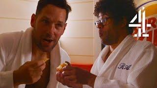 getlinkyoutube.com-Paul Rudd & Richard Ayoade Eat At Helsinki's Burger King Sauna | Travel Man: 48 Hours In...