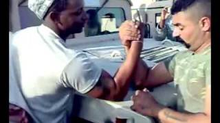 Iraqi special forces vs US soldier armwrestling