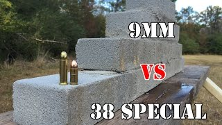getlinkyoutube.com-9mm vs .38 Special... Cement brick wall test