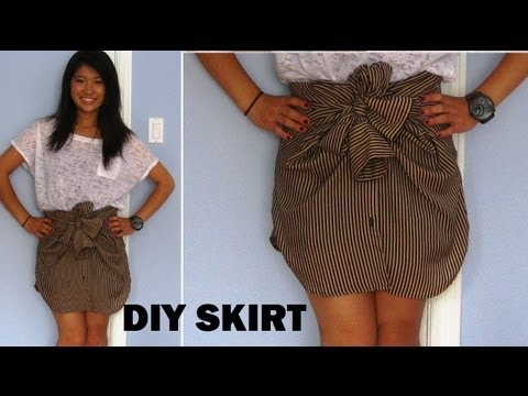 DIY: Long Sleeve Shirts into Skirts (No Sewing)