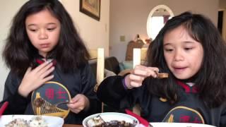AmeliaAndAdinah Filipino Food eating Adventure, Dinuguan, Chocolate Meat.