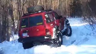 getlinkyoutube.com-Winter off road. Patrol GR 2,8td, Patrol GR 6,2D, Opel Frontera 2,4i, Mitsubishi Pajero 1 3,0, GAZ69