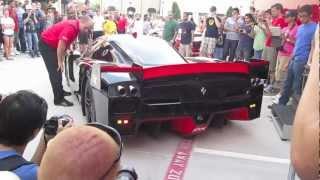 getlinkyoutube.com-Ferrari FXX - Start up, revving, VERY LOUD!!