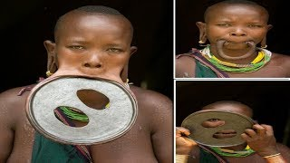 getlinkyoutube.com-Largest Lip Plate: Woman with the World's Biggest Lip Disc - measuring nearly 60cm
