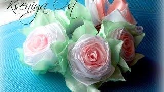 getlinkyoutube.com-Украшение на ПУЧОК ( резинка) с розами канзаши.